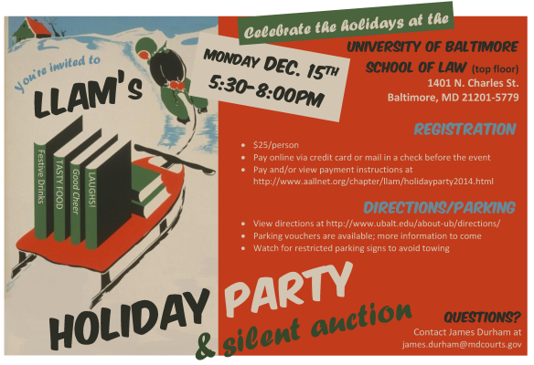 LLAM 2014 holiday party flyer